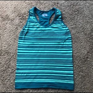 Athleta VEUC blue and seafoam stripe shelf bra